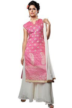 Pink and Off White coloured Palazzo Suit #FeelRoyal #PallazoSuit #chiffon #cotton #net #pallazo #indowestern #Rajwadi #pink #offwhite