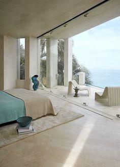Inside the Razor Residence #interiordesign #decor #view #sea #tranquil #bedroom #retreat #california | Joseph Carini Carpets