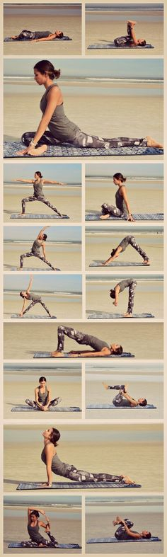 Repin to practice these poses later!  This Yoga Sequence helps to stretch out tight hip flexors & hamstrings.  This decreases muscle aches & pains, increases flexibility, and decreases risk for injuries.  This is especially useful for runners and other at