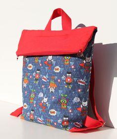 Mochila de tela, mochila cole, regalos niños, mochila gatitos, mochila algodón, mochila roja, mochila para niños, super héroes, gatitos