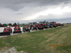 Red equipment for sale r-l:CaseIH 1250,Steiger 600 quadtrac,Magnum 340,New Holland T8030,Magnum 340,Farmall 90C,Maxxum 140,Farmall 70A,45C &35C