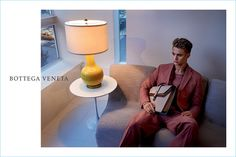 Morten Nielsen dons a colorful suit for Bottega Veneta's spring-summer 2017 campaign.
