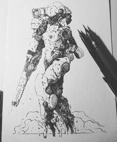 Cool Sketches, Drawing Sketches, Drawings, Character Concept, Character Art, Character Design, Apocalypse Art, Ghost In The Machine, Arte Robot