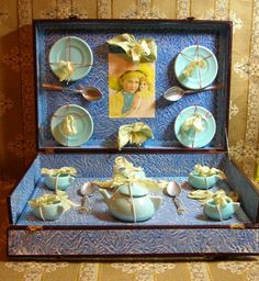 Antiqiue French Toy Tea Set in Original Presentation Box!