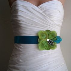 TUSCANY - Peacock Bridal or Bridesmaids Sash in Lime on Teal Blue. $62.00, via Etsy.