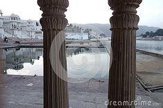 Photo about This is a early morning view of lake pucker in Rajasthan looking through some temple pillars. Image of morning, looking, temple - 71074112 Morning View, Early Morning, Images Of Morning, Temple, India, Stock Photos, Architecture, Arquitetura, Delhi India