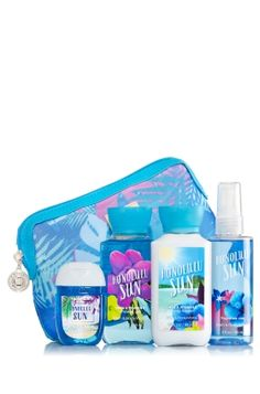 Honolulu Sun - Beach in a Bag Gift Set - Bath & Body Works - Say Aloha to soft, scented skin when you're on-the-go! Our fun, palm-tree inspired cosmetic bag is filled with convenient travel sizes of our super-lathering Shower Gel, Body Lotion & Fine Fragrance Mist (3 fl oz each). Plus, a NEW PocketBac (1 fl oz) adds a pop of germ-killing action so you can stay clean & refreshed wherever you surf to next.