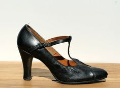 Black T-Strap Leather High Heels Style House 1920s/1930s Style Size 6.5 or 7 on Etsy, $52.24 AUD