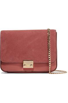 Loeffler Randall | Lock suede and leather shoulder bag | NET-A-PORTER.COM