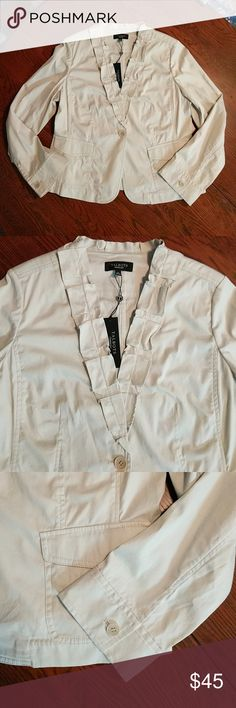 "Talbots Grace Fit Ruffle V Jacket NWT Great Fall layering piece, feminine but classy twill blazer. Light stone coloring.  20"" Bust Talbots Jackets & Coats Blazers"