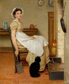 Joseph Caraud - The Lady's Maid and Black Cat, chat, katze