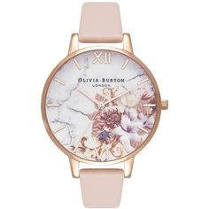 Women's Olivia Burton Marble Floral Leather Strap Watch, 38Mm ($125) ❤ liked on Polyvore featuring jewelry, watches, charm watches, charm jewelry, olivia burton jewellery, floral watches and polish jewelry