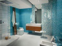 carrelage mural bleu et mosaque en bleu et gris dans la salle de bains - Salle De Bain Turquoise Et Bois