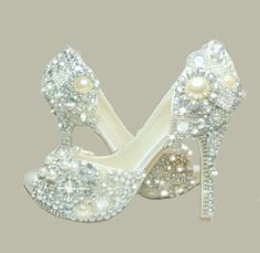 Cinderella's Wish Peep Toes... crystal, glass and pearl covered high heels.