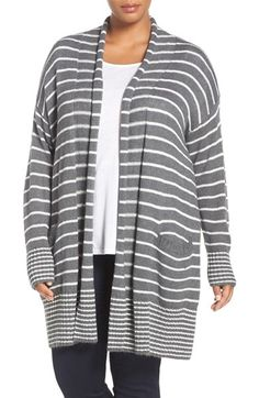 Free shipping and returns on Caslon® Stripe Open Front Long Cardigan (Plus Size) at Nordstrom.com. A drop-shoulder cardigan is completely relaxed with rolled edges at the open front, patch pockets and striped patterning. The knit is blended with plenty of soft cotton and a touch of warm wool for extra cozy appeal.