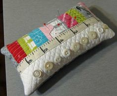 I ❤ to sew . . .  I made this with scraps... or the leftovers of some mini-charm squares. ~By LaVieEnRosie