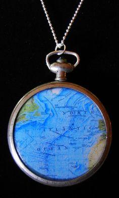 Steampunk Atlantic Ocean Map Pendant by SharisBitsandBobs on Etsy, NEW PRICE: $28.00