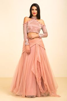 Rent YOSHITA COUTURE - Pink Cold Shoulder Crop Top With Drape Style Skirt.