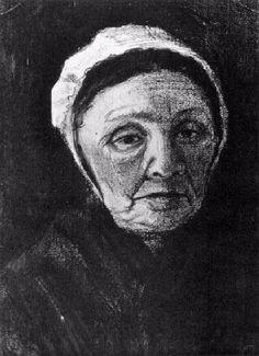 Vincent van Gogh: Woman with White Bonnet (Sien's Mother), Head,  The Hague: March, 1882 (The Hague, Gemeentemuseum) F 1009a, JH 106