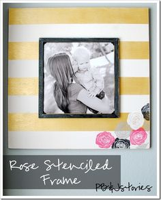 A rose stenciled frame. A fabulous Mother's Day project made with Martha Stewart paints. #crafts #martha stewart #mother's day