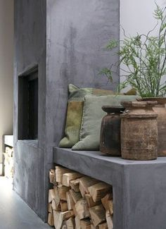 Concrete fireplace |