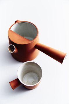 Lacuna terracotta teapot and cup by Benjamin Ceramics