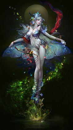 Hadas y fairies.❤ fantasy female`s fairy art, fantasy art Fantasy Artwork, Magical Creatures, Fantasy Creatures, Elfen Fantasy, Anime Fantasy, Art Et Illustration, Beautiful Fairies, Fairy Art, Fantasy Girl