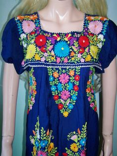 Mexican Dress Boho Embroidered. Love my Mexican dresses! This one is pretty too.