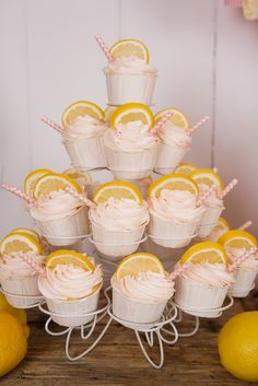 Cupcakes at a Lemonade Party #lemonade #party