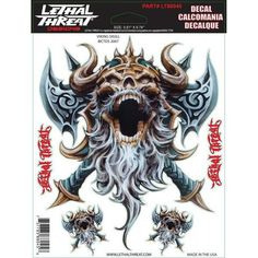 """Viking Skull - 6"""" by 8""""  - LT88045 Lethal Threat Decal"""