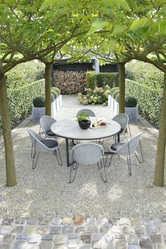 Small terrace at the back of the building for the middle window. What about tree. Small terrace at Small Courtyard Gardens, Small Courtyards, Back Gardens, Outdoor Gardens, Small Gardens, Backyard Seating, Pergola Patio, Backyard Landscaping, Pergola Kits