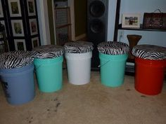 DIY bucket stools for storage and seating in your college dorm room. Very cheap to make too!