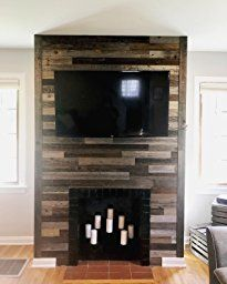 Plank and Mill Reclaimed Barn Wood Wall Panels - Simple Peel & Stick Natural Aged Planks - 1 Sq Ft Sample Pack of 5 & Wide: Whitewashed & Classic Barn Wood Fireplace Facing, Cozy Fireplace, Reclaimed Barn Wood, Rustic Wood, Wood Planks, Wood Paneling, Wood Panel Walls, Raw Wood, Rustic Walls