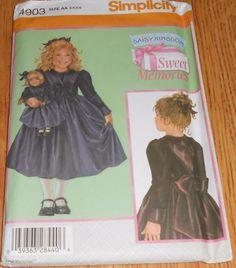 "Simplicity Sewing Pattern 4903 Daisy Kingdom Girls 3 4 5 & 18"" Doll Dress Uncut #Simplicity"