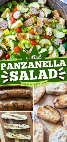 Give this summer dinner recipe a try! Tossed in a delicious vinaigrette, this easy Panzanella Salad with chicken sausage, veggies, and hearty bread is satisfying. The whole family will devour this summer salad! Grilled Veggies, Chicken Sausage, Summer Salads, Chicken Salad, Vinaigrette, Grilling Recipes, Barbecue, Easy Meals, Dinner