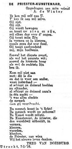 van Doesburg poetry about Janus de Winter, 1916 Theo Van Doesburg, Janus, Utrecht, Poetry, Spirituality, Typography, History, Abstract, Winter