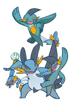 The Mudkip Evo Family. Mudkip Nostalgia by oxboxer Pokemon Special, New Pokemon, Pokemon Stuff, Pokemon Champions, Mudkip, Pokemon Collection, Catch Em All, Art Drawings, Cool Art