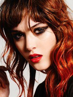 Red 80's hairstyle and color model Aneta Dolejsova hair Nicolas Jurnjack make up celine De Cruz photography Nick Norman