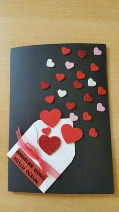 Create beautiful and colorful cards with leftovers of cardboard or foamy - סקראפ - Muttertag Mothers Day Crafts, Valentine Day Crafts, Handmade Birthday Cards, Diy Birthday, Diy And Crafts, Crafts For Kids, Diy Cards, Homemade Cards, Diy Gifts