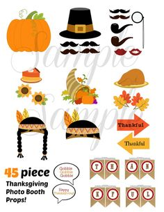 INSTANT DOWNLOAD Thanksgiving 45 piece photo booth props by LemonSqueezeDesigns, $8.99