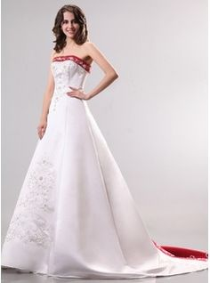 A-Line/Princess Strapless Court Train Satin Wedding Dress With Beading (002014296) - JJsHouse