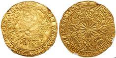 """England AV """"Ship Ryal"""" ND Escallop mm. Tower Mint Elizabeth I 1558-1603"""