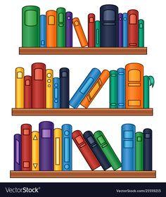 Bookshelf with colorful books vector image on VectorStock Parrot Cartoon, Zebra Cartoon, Flower Background Wallpaper, Flower Backgrounds, Clown Crafts, Happy Halloween Banner, Cartoon House, Pumpkin Vector, Cute Snake