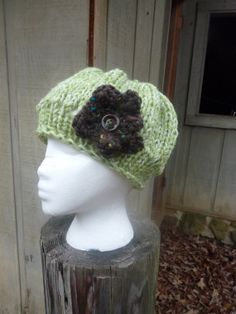 Girls Green Beret Style Hat with Brown Flower by lovemyknits, $20.00