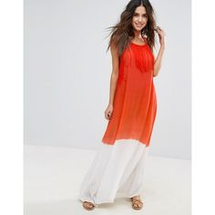 Anmol Ombre Effect Maxi Beach Dress ($33) ❤ liked on Polyvore featuring dresses, orange, halter top, halter maxi dress, open back dresses, halter neck maxi dress and open back maxi dress