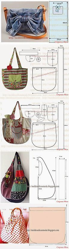 More patterns for bags/purses Patchwork Bags, Quilted Bag, Purse Patterns, Sewing Patterns, Diy Purse, Denim Bag, Fabric Bags, Handmade Bags, Beautiful Bags