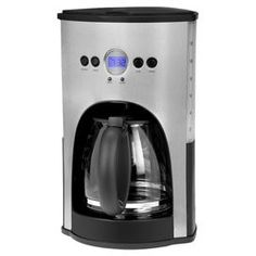 "Kalorik 12-Cup Coffee Maker in Stainless Steel now $38.95 was $151.00  Programmable coffee maker with an LCD display and auto shut off. Product: Coffee makerConstruction Material: Stainless steel and glassColor: Stainless steel and black   Features: Fully programmable with digital timer and LCD display12 Cup capacity   Dimensions: 14.5"" H x 9.5"" W x 9"" D"