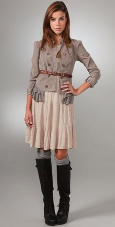 great way to winterize a summer dress! slouchy socks with boots and a skirt