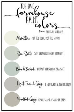 Today I'm sharing with you some of my favorite farmhouse paint color palettes to help your home feel a little more like Joanna Gaines. Interior Paint Colors, Paint Colors For Home, Interior Painting, Paint Colours, Magnolia Paint Colors, Living Room Paint Colors, Fixer Upper Paint Colors, Color Paints, Popular Paint Colors