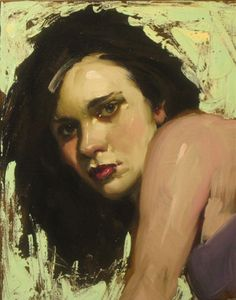 """""""Over Her Shoulder"""" - Malcolm T. Liepke (b. 1953), oil on canvas {figurative #impressionist art pretty female woman face portrait painting #loveart} <3"""